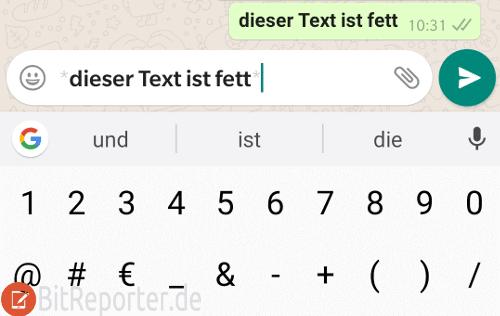 In WhatsApp fett schreiben