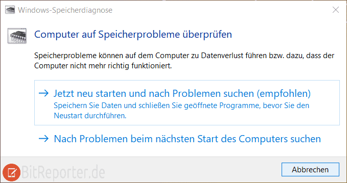 Windows 10 Speicherdiagnose starten