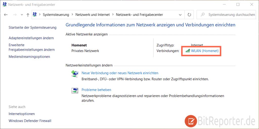 WLAN im Windows 10 Netzwerk- und Freigabecenterd