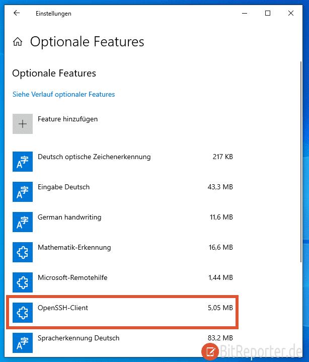 OpenSSH-Client in Windows 10 aktivieren