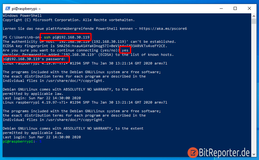 SSH-Verbindung mit der Windows Power Shell