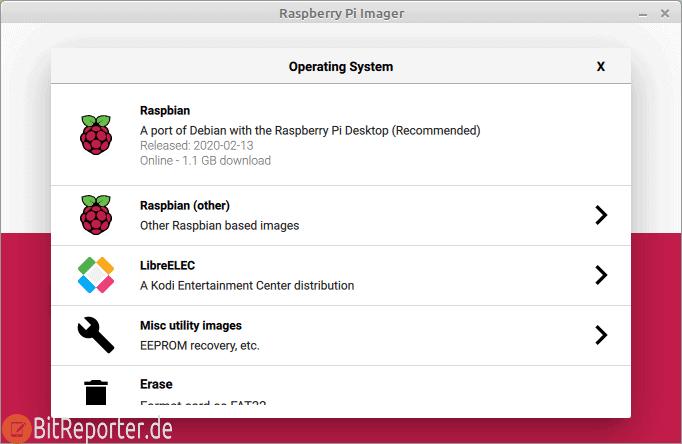 Betriebssystem mit dem Raspberry Pi Imager auswählen