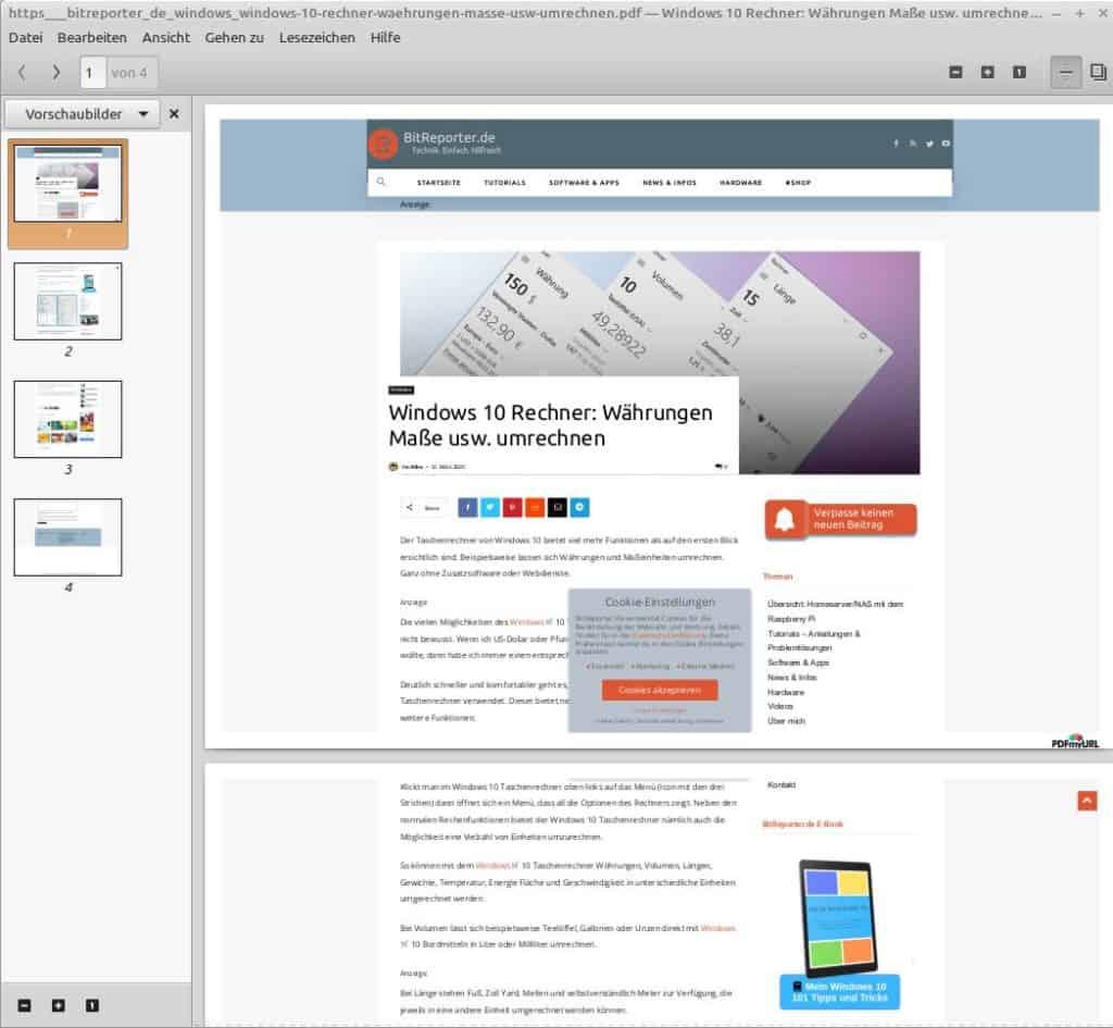 PDF einer Webseite, erstellt mit PDF Nice Converter