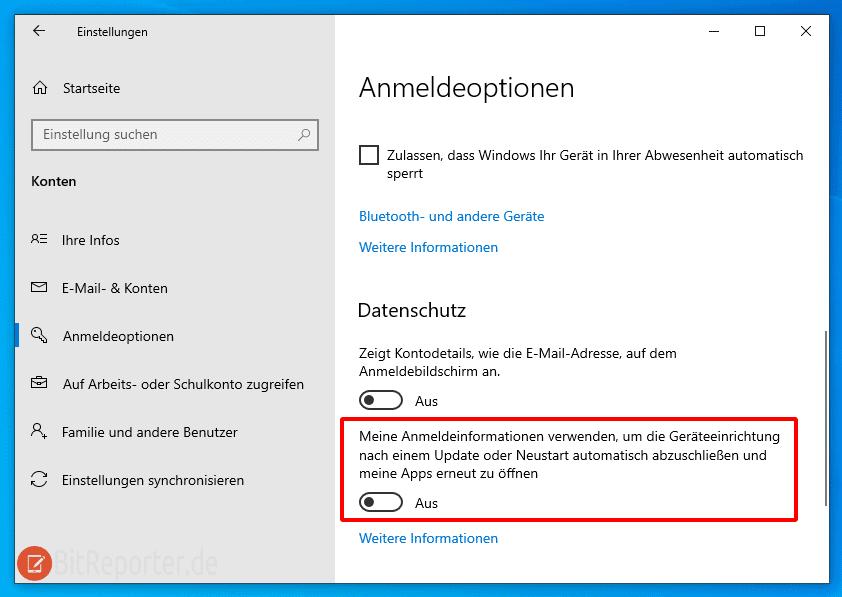 Windows 10 Anmeldeoptionen