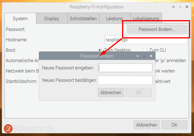 Passwort auf dem Raspberry Pi Desktop ändern