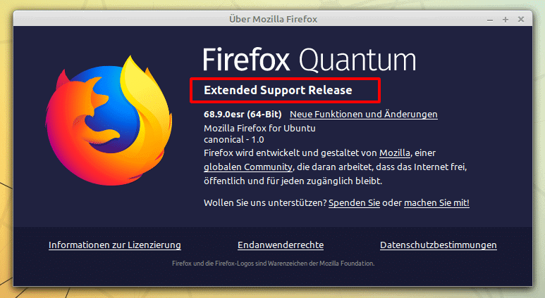 Firefox Extended Support Release