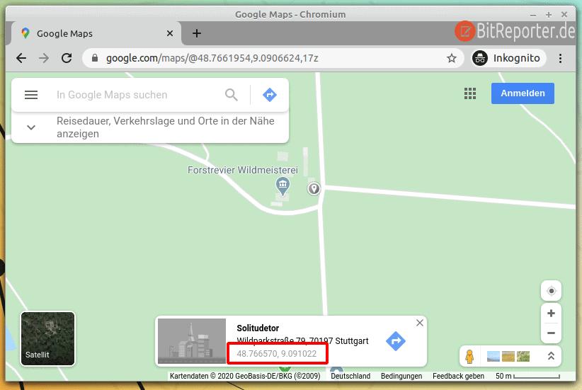 Google Maps Koordinaten im Browser anzeigen
