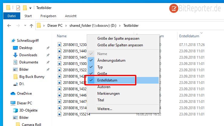 Erstelldatum im Windows Explorer über das Kontextmenü hinzufügen