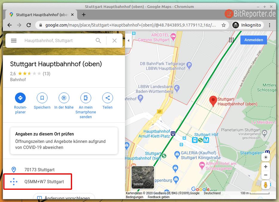 Plus-Codes in Google Maps nutzen