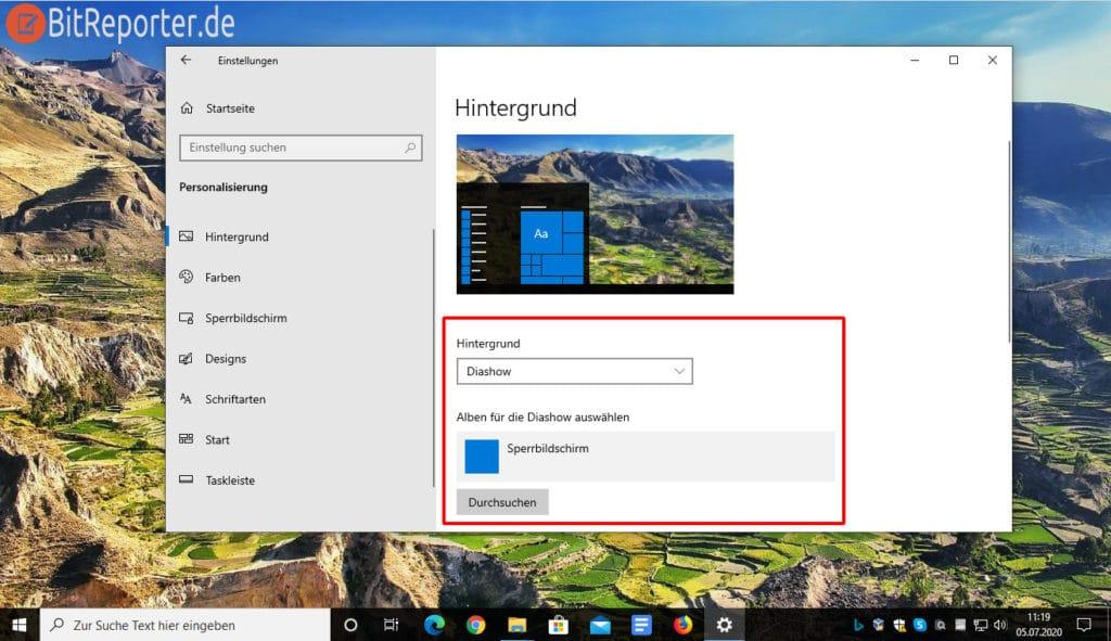 Windows 10 Blickpunkt-Bild als Wallpaper gesetzt.
