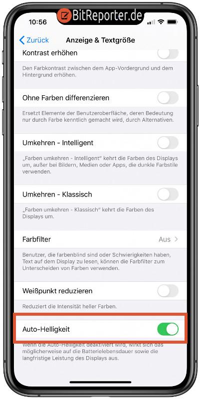 Auto-Helligkeit am iPhone und iPad abschalten
