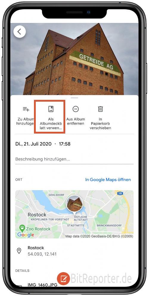 Albumdeckblatt in Google Fotos in der App auswählen
