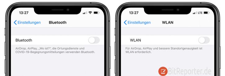 iOS Funkschnittstellen deaktivieren