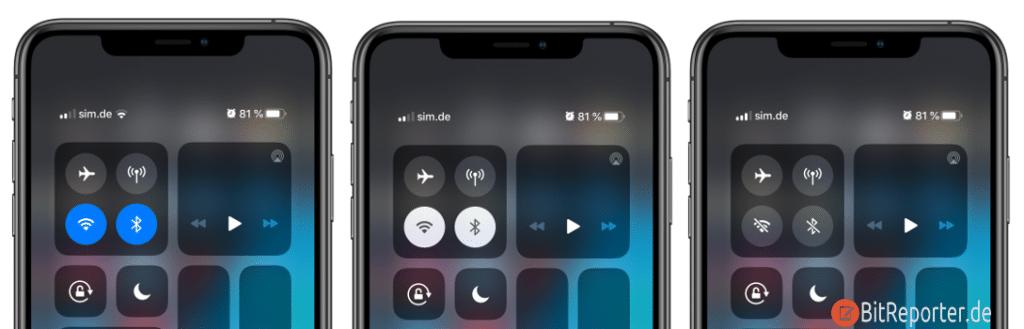 iPhone Status der Funkverbindung anzeigen