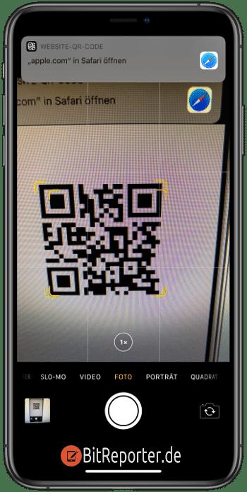 QR-Code mit der Kamera-App auf dem iphone scannen