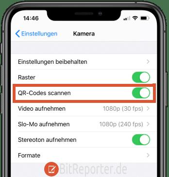 QR-Code-Scanner-Funktion am iPhone aktivieren