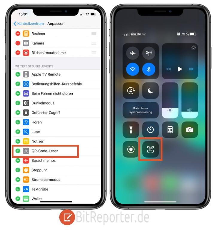 iPhone QR-Code-Scanner zum Kontrollzentrum hinzufügen.