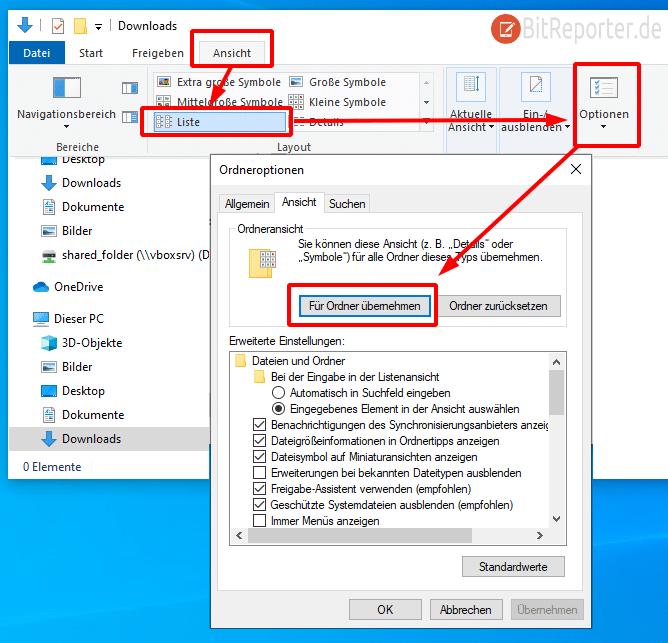 Ordneransicht in Windows 10 vereinheitlichen