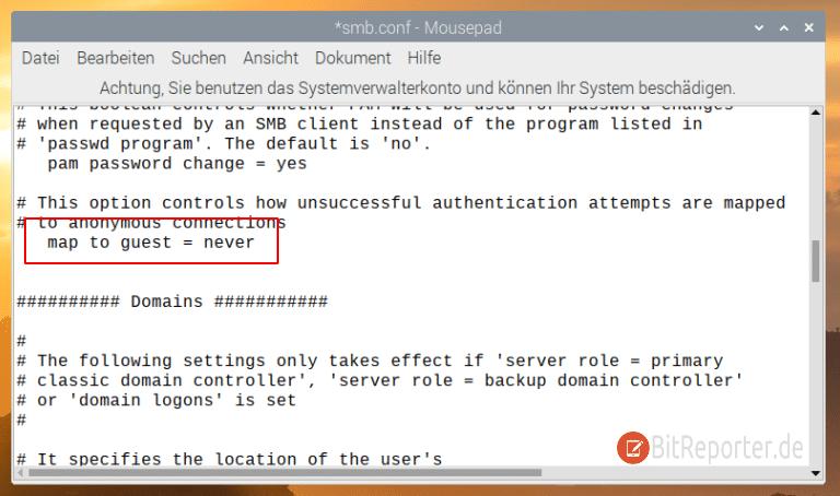 Raspberry Pi Samba Konfigurationsdatei anpassen.