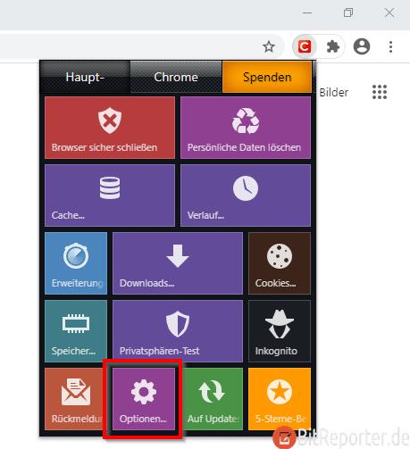 Chrome Browsererweiterung Click&Clean Menü