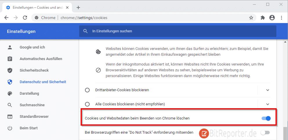 Cookies in Google Chrome automatisch löschen.