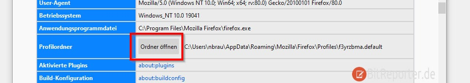 Firefox Profilordner finden und öffnen