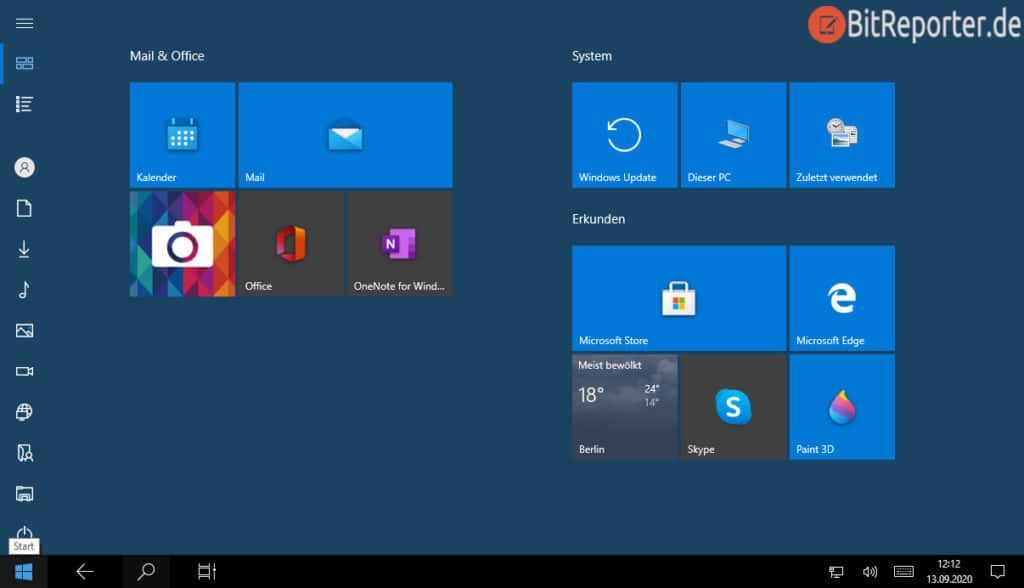 Windows 10 mit aktiviertem Tabletmodus