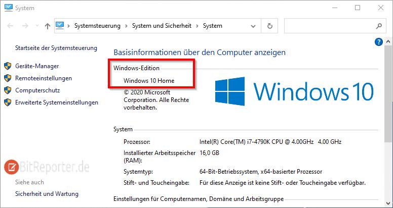 Herausfinden ob Windows 10 Home oder Pro installiert ist.