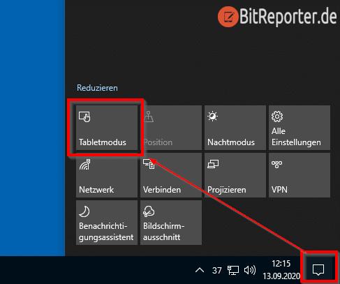 Windows 10 Tabletmodus aktivieren oder deaktivieren