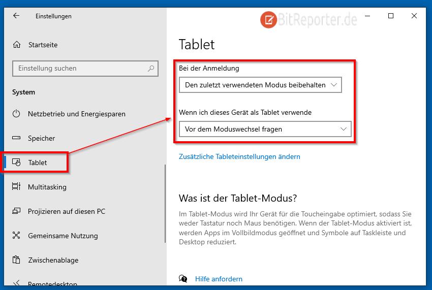 Windows 10 Tabletmodus dauerhaft aktivieren oder deaktivieren