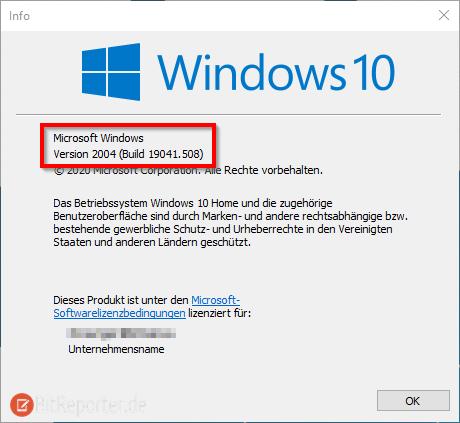 Installierte Windows 10 Version anzeigen