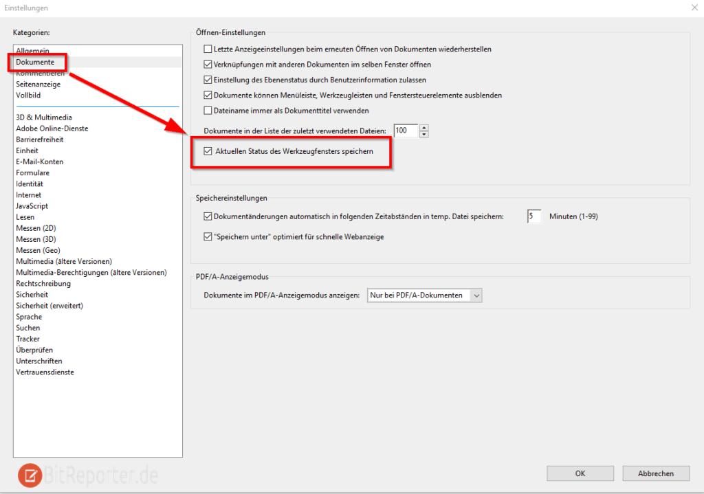 Adobe Reader Einstellungen Status des Werkzeugfensters speichern um Werkzeugleiste dauerhaft auszublenden