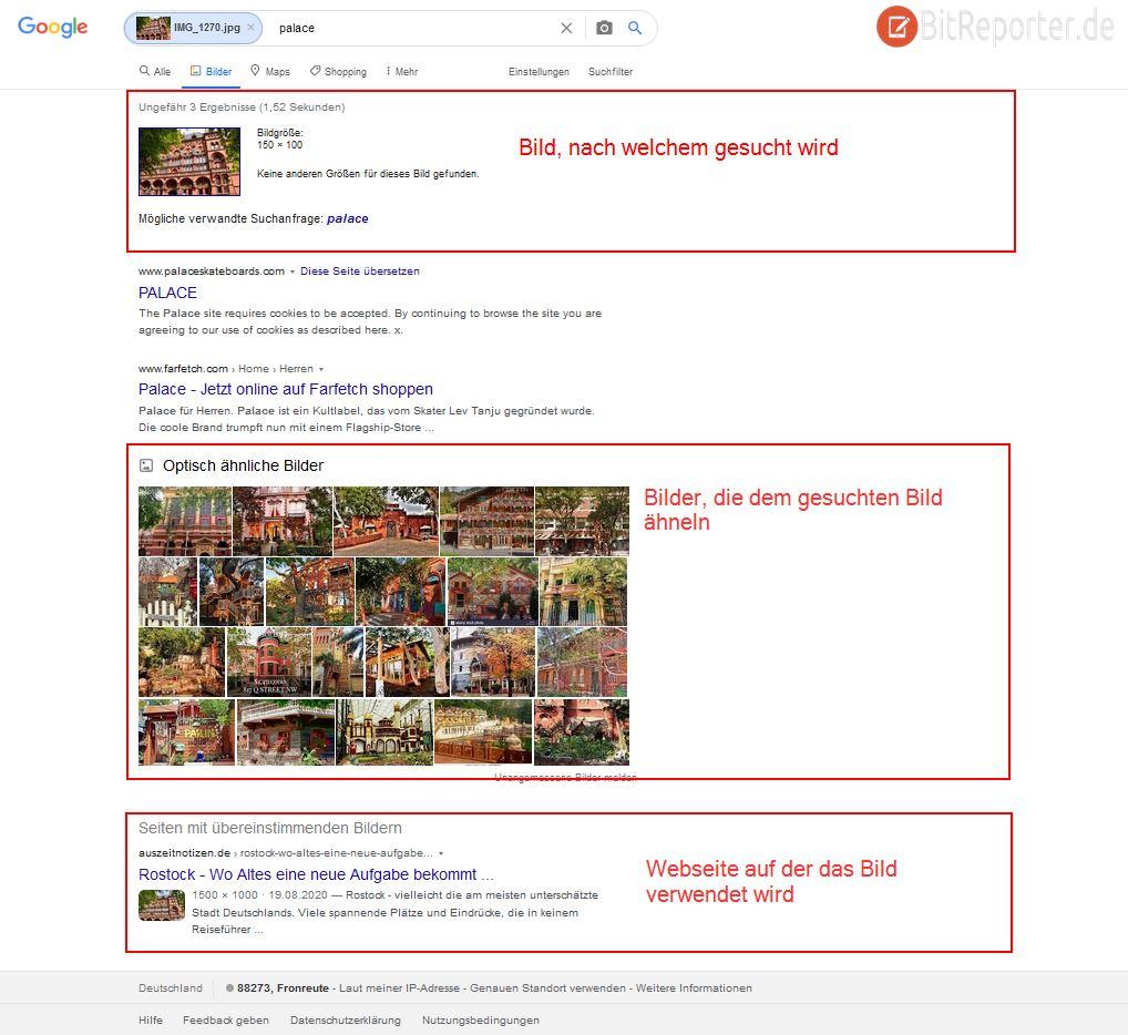 Die Funktionen der umgekehrten Google Bildersuche