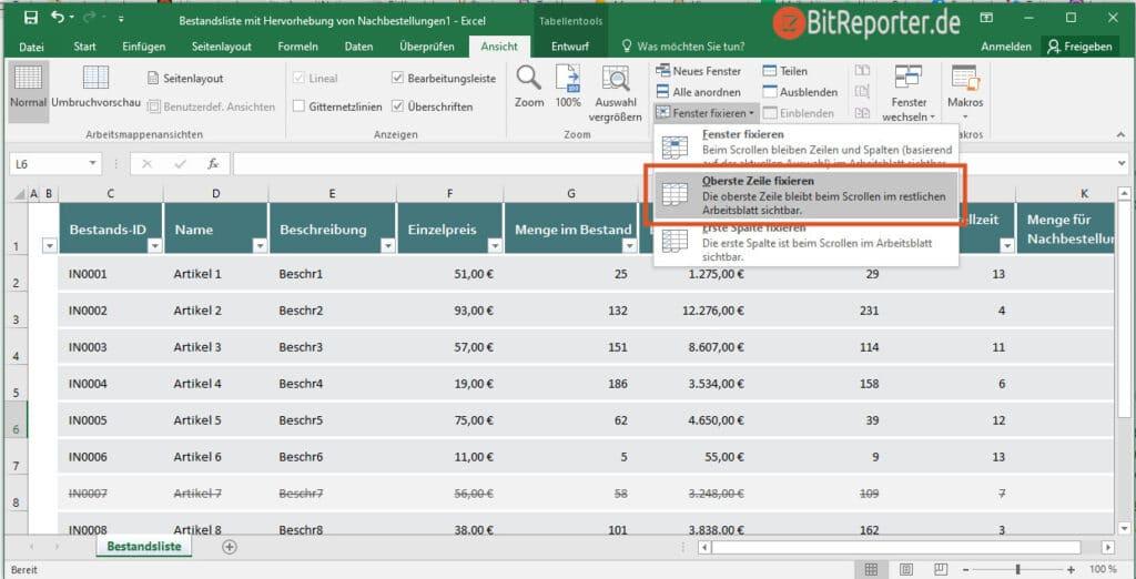 Erste Zeile in Excel fixieren