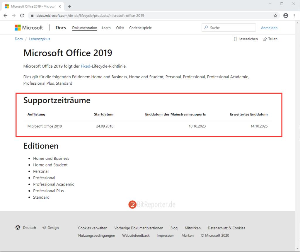 Supportzeitraum von Office 2019