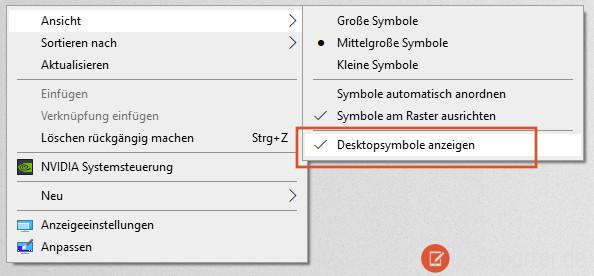 Alle Desktopsymbole unter Windows 10 ausblenden