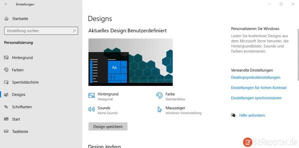 Windows 10 Design-Einstellungen