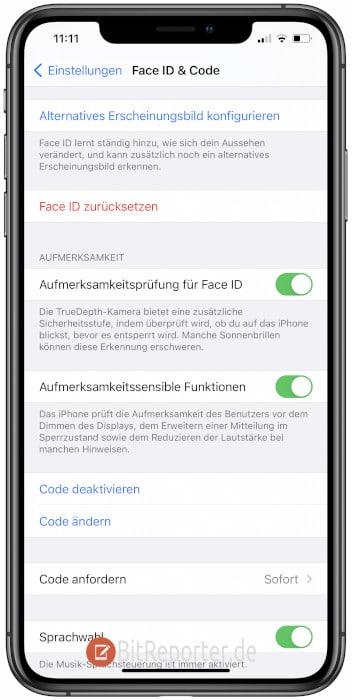 iPhone Lockscreen-PIN ändern Schritt 2