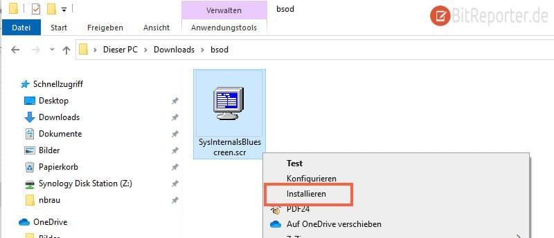 SCR Bildschirmschoner Datei installieren