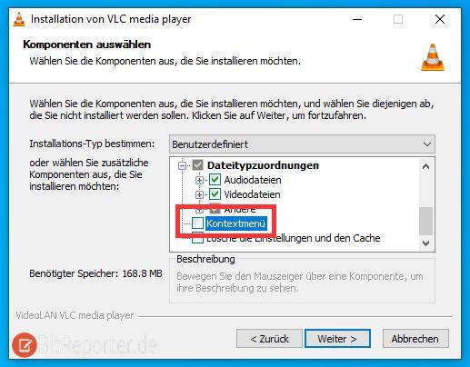 VLC Media Player Einträge mit Installationsprogramm aus Kontextmenü entfernen