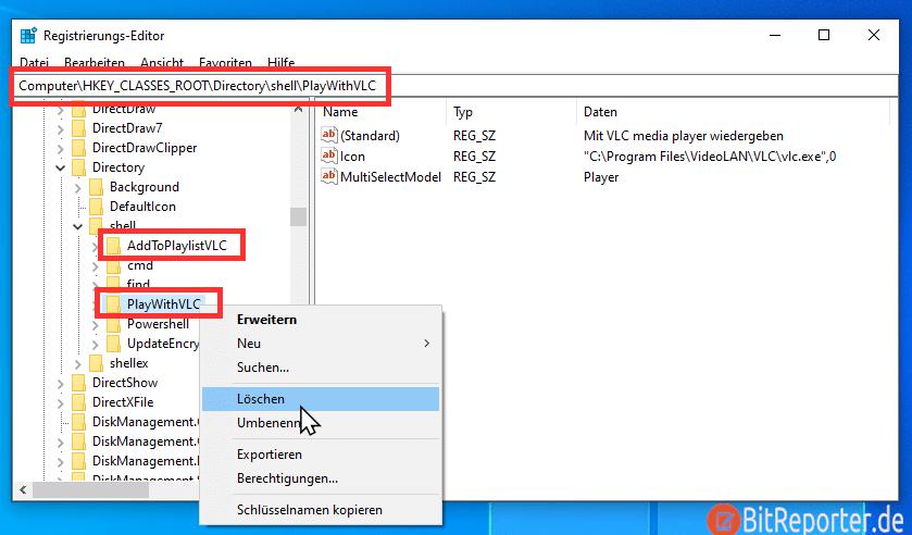 VLC Media Player Einträge mit Regedit aus Kontextmenü entfernen