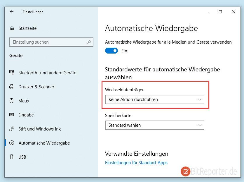 Windows 10 automatische Wiedergabe deaktivieren