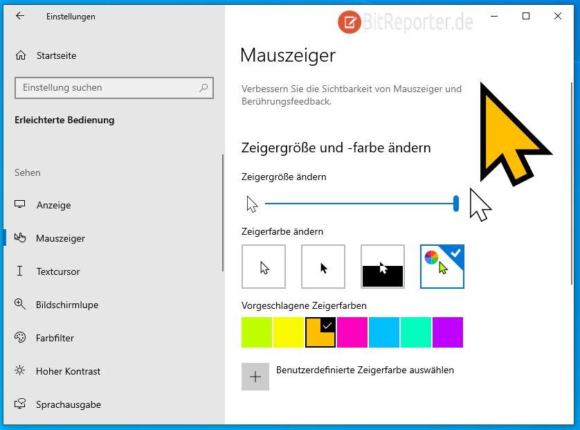 Windows 10 Mauszeiger Farbe ändern
