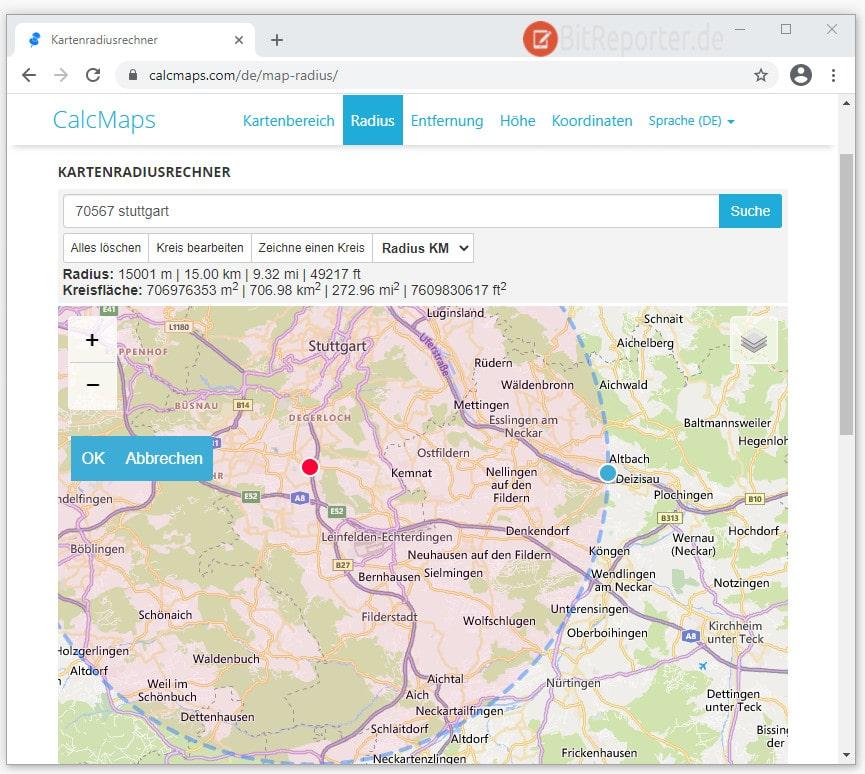 15 KM Kreis Radius auf Karte um Wohnort anzeigen