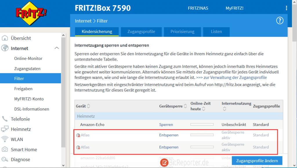 Internetzugang für bestimmtes Gerät mit der Fritzbox sperren.