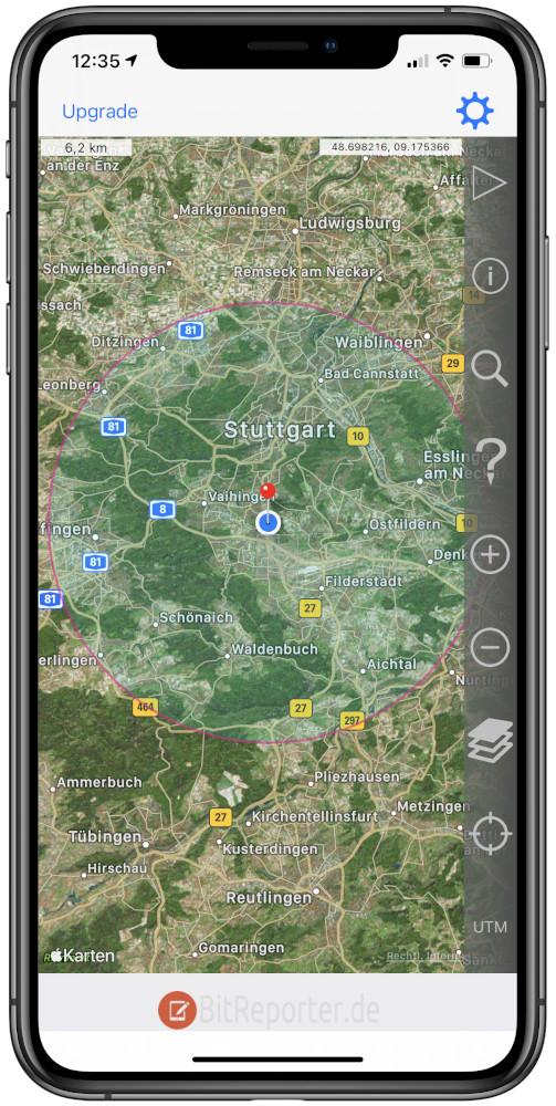 Kreis um Wohnort auf Karte mit dem iPhone