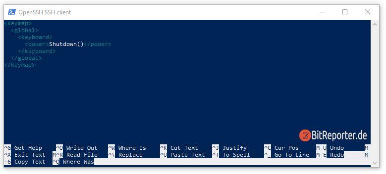 Keymap Konfiguration für Powerbutton von Kodi LibreElec
