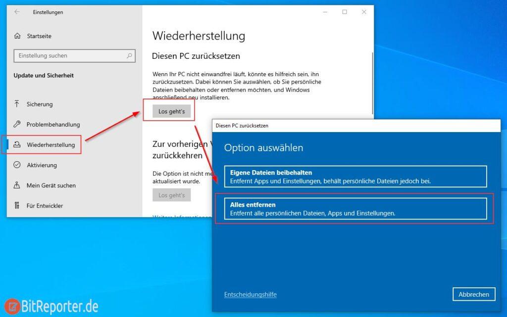 Windows 10 zurücksetzten und alle Daten entfernen