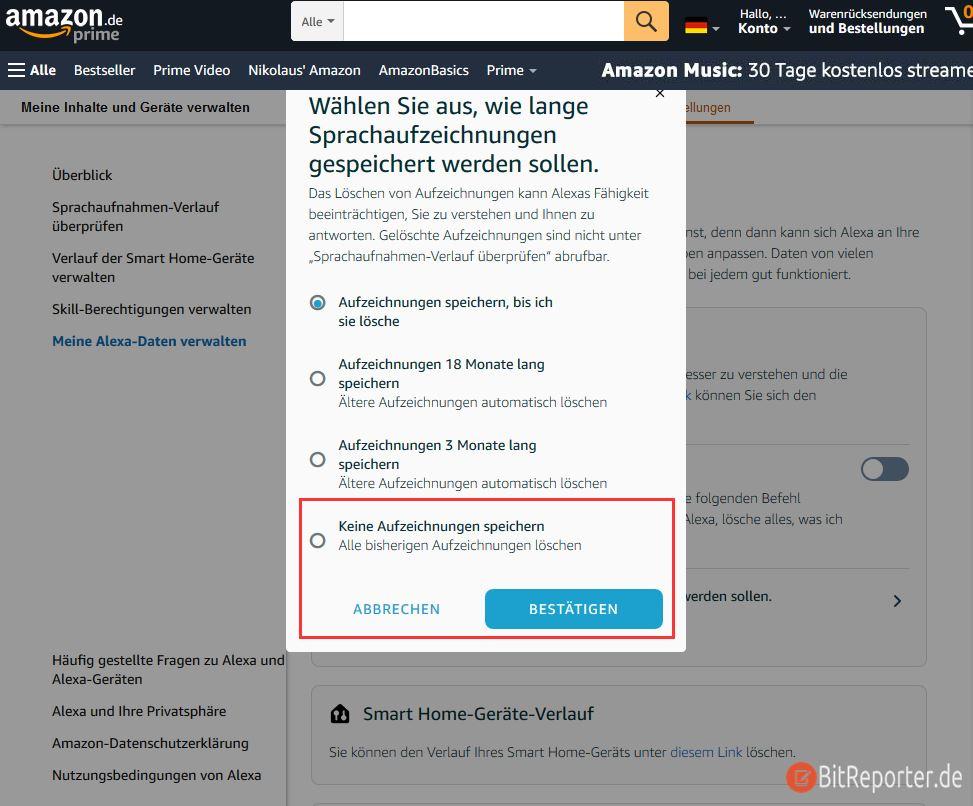 Speichern von Alexa-Sprachaufzeichnungen Befehle über die Webseite deaktivieren.