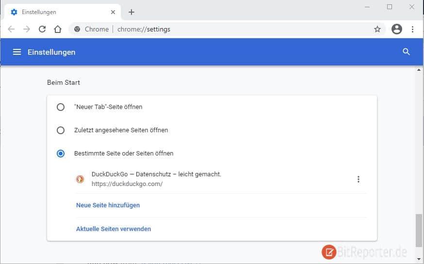 Chrome Seite für Neuer Tab einrichten